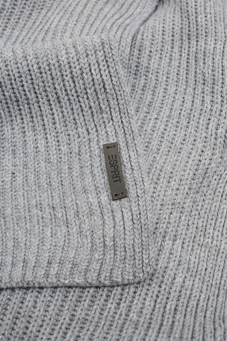 Wool blend: ribbed knit scarf, MEDIUM GREY, detail image number 2