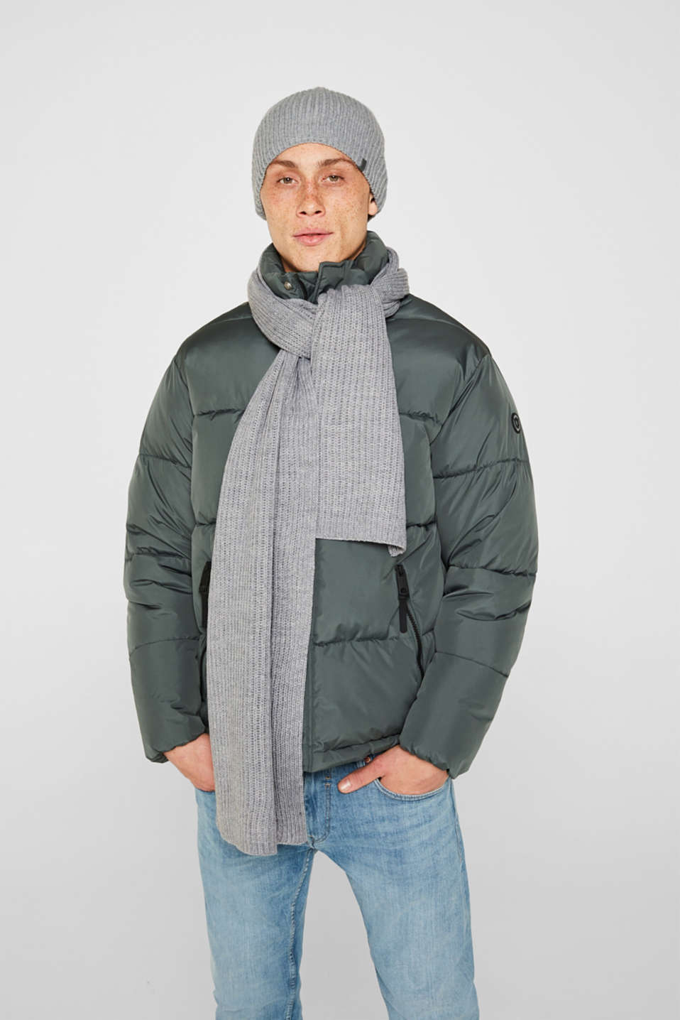 Wool blend: ribbed knit scarf, MEDIUM GREY, detail image number 1