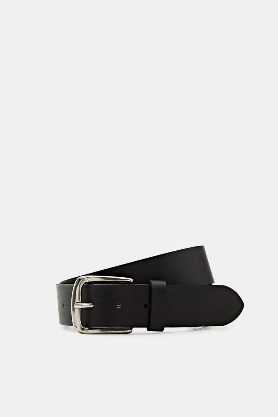 Made of leather: robust textured belt, BLACK, detail image number 0
