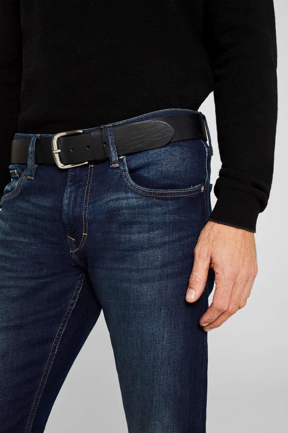 Made of leather: robust textured belt, BLACK, detail image number 2