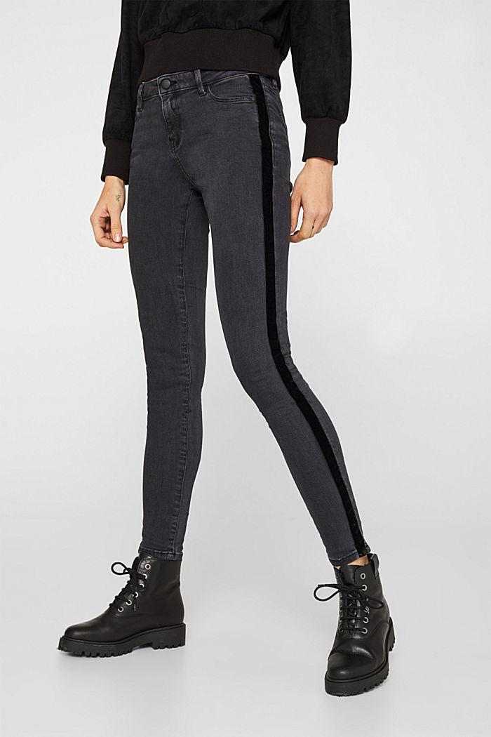 Super stretchy jeans with velvet ribbon, BLACK DARK WASHED, detail image number 0