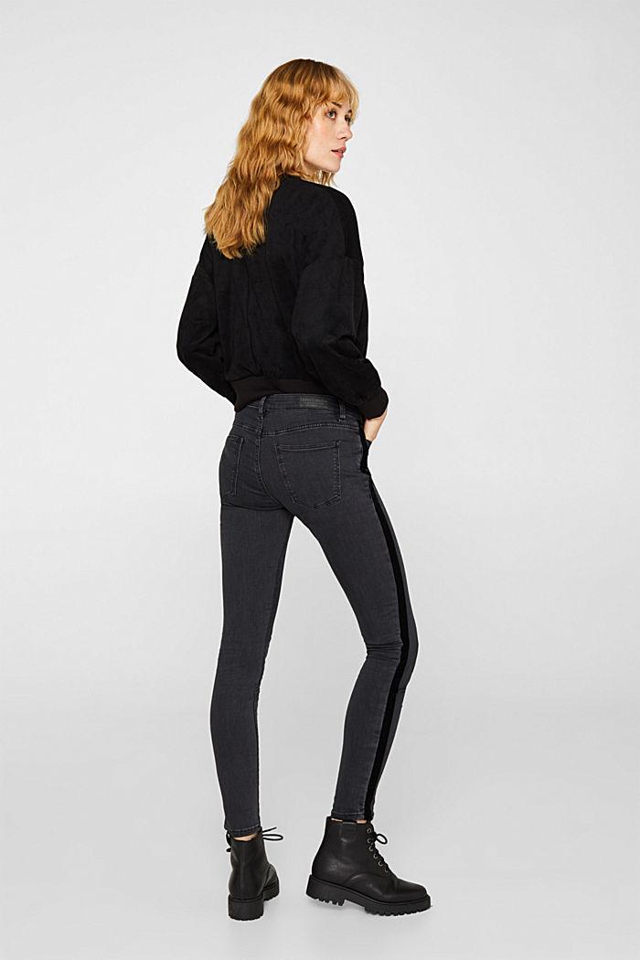 Super stretchy jeans with velvet ribbon, BLACK DARK WASHED, detail image number 3