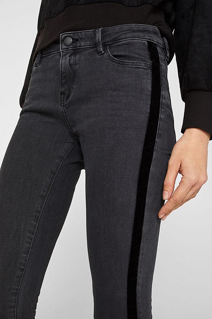 Super stretchy jeans with velvet ribbon, BLACK DARK WASHED, detail image number 2