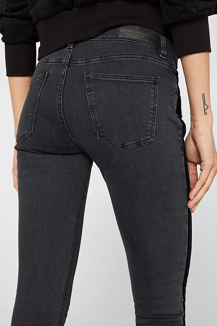 Super stretchy jeans with velvet ribbon, BLACK DARK WASHED, detail image number 5