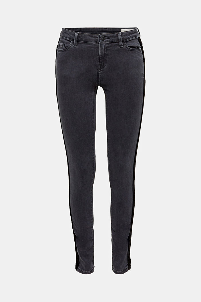 Super stretchy jeans with velvet ribbon