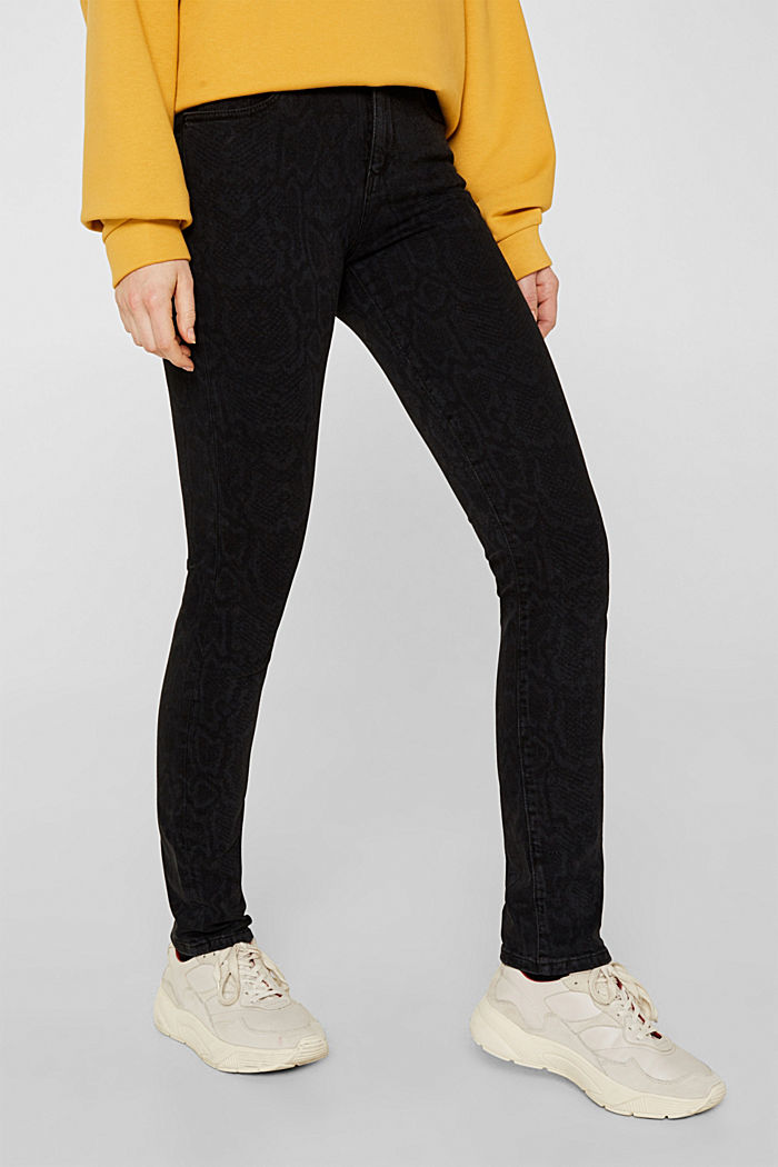 Stretch jeans with a snakeskin print, BLACK DARK WASHED, detail image number 6