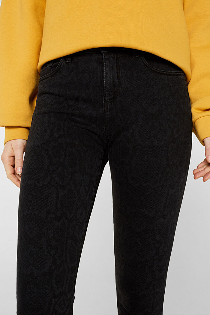 Stretch jeans with a snakeskin print, BLACK DARK WASHED, detail image number 2