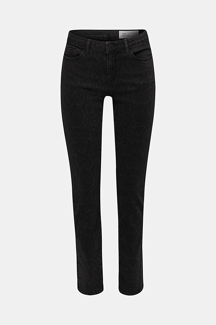 Stretch jeans with a snakeskin print, BLACK DARK WASHED, detail image number 7
