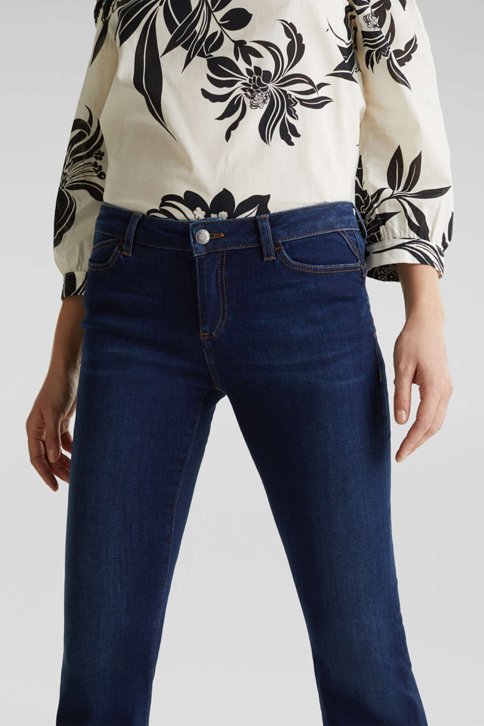 Shaping jeans in dark denim, BLUE DARK WASH, detail image number 1