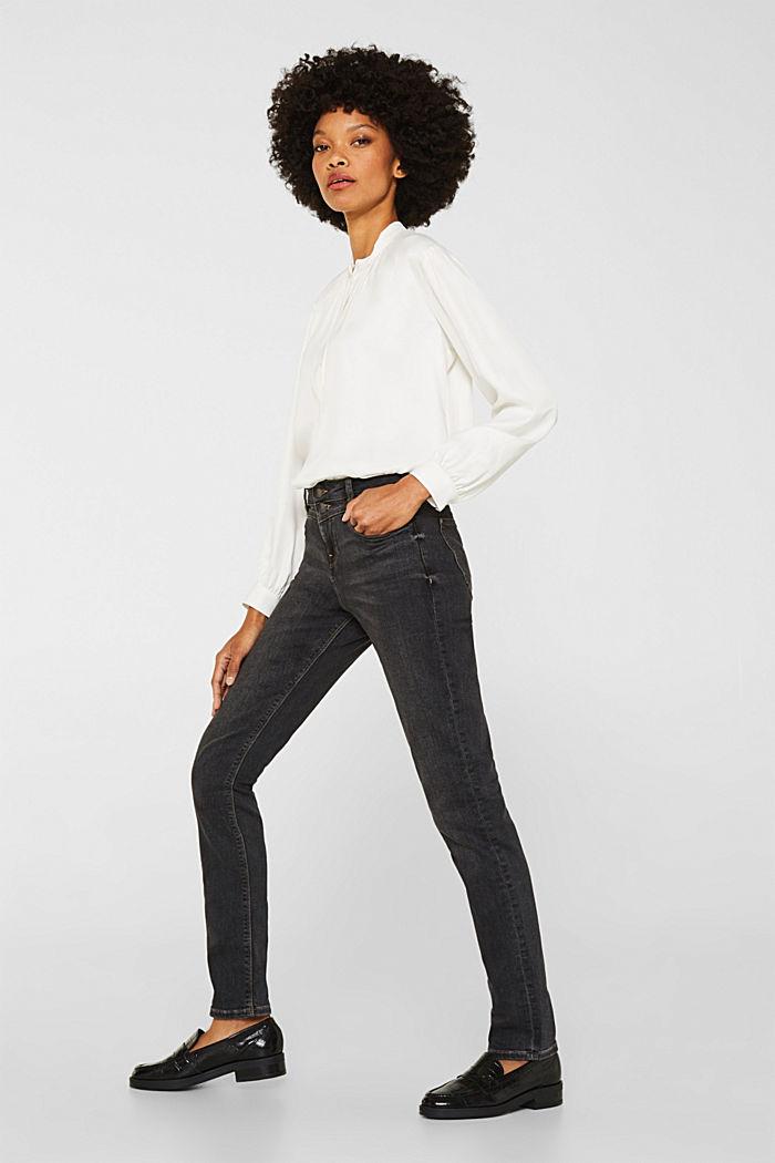 Stretch-Jeans mit Doppelknopf, GREY DARK WASHED, detail image number 2