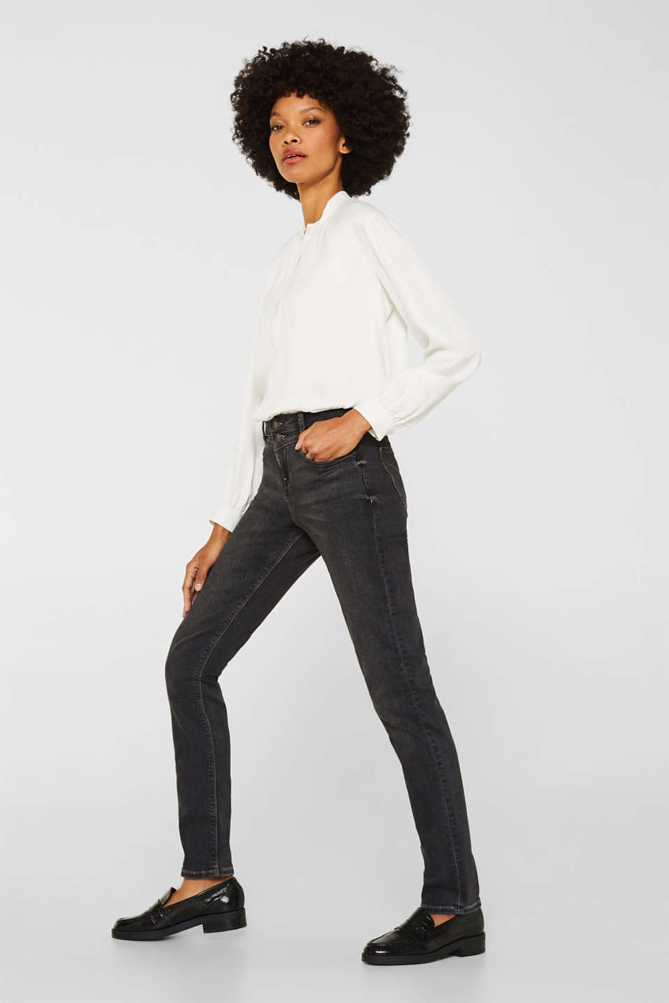 Esprit - Stretchjeans med to knapper