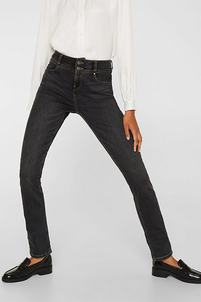 Stretch jeans with double button, GREY DARK WASHED, detail image number 6