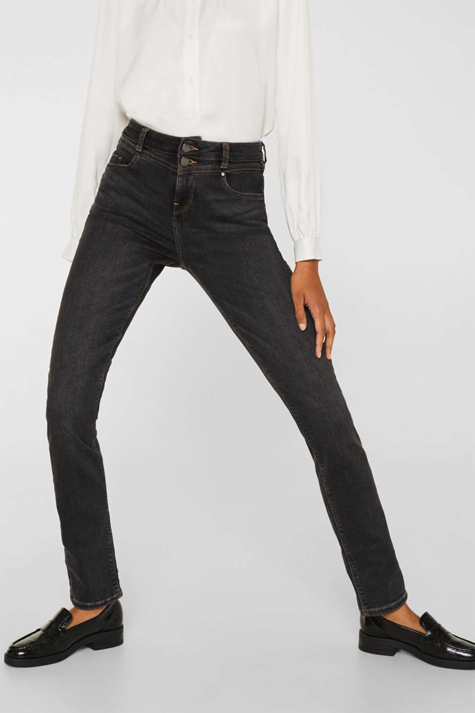 Stretch jeans with double button, GREY DARK WASH, detail image number 6