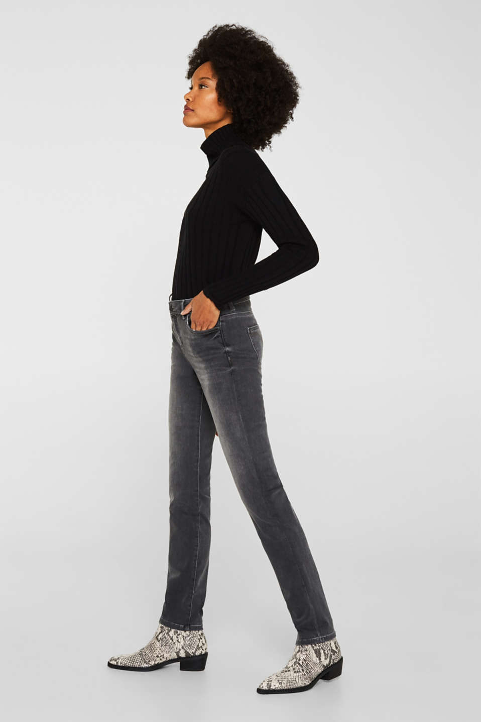 REPREVE stretch jeans with recycled polyester, GREY MEDIUM WASH, detail image number 0