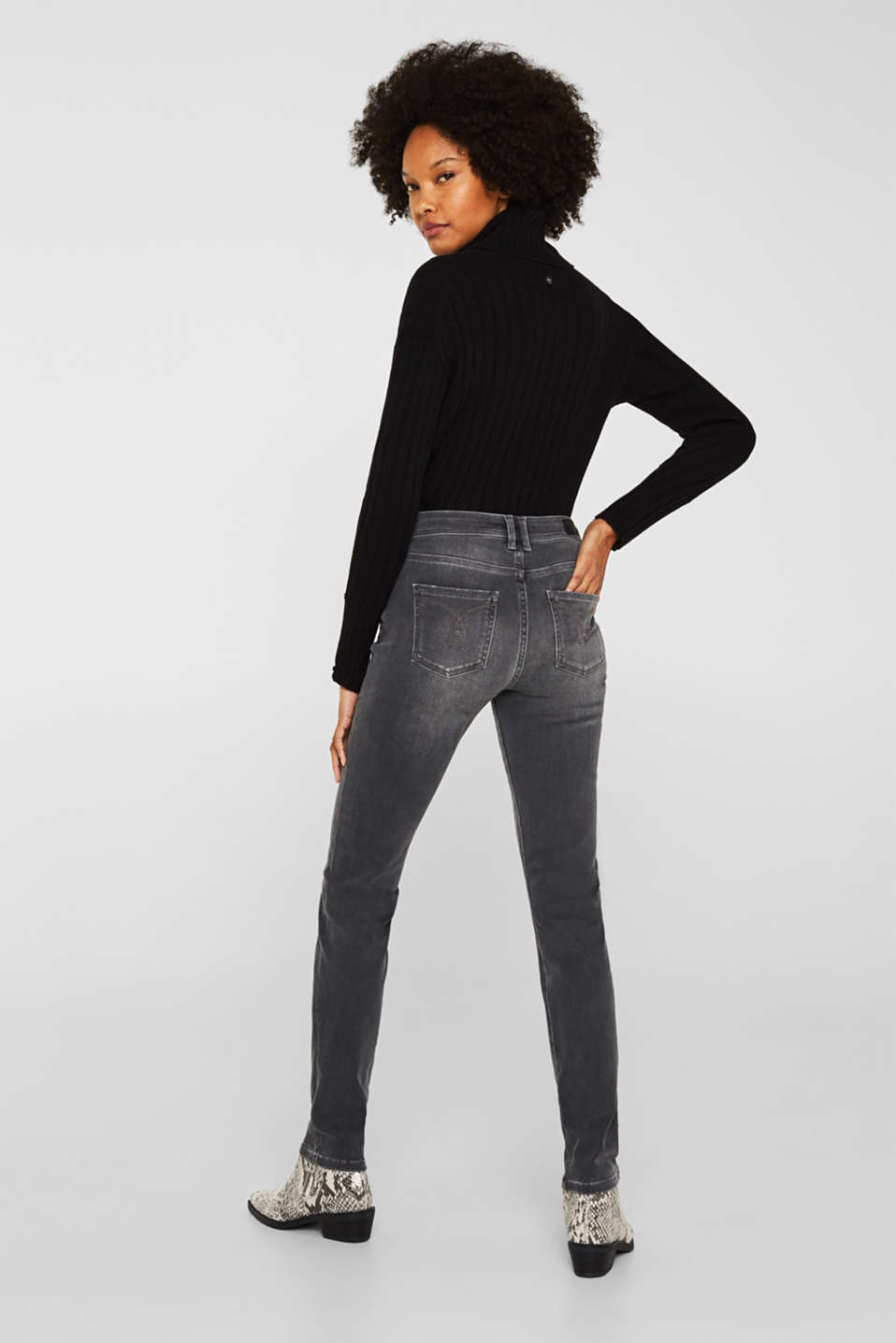 REPREVE stretch jeans with recycled polyester, GREY MEDIUM WASH, detail image number 3