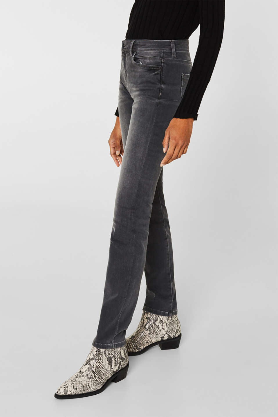 REPREVE stretch jeans with recycled polyester, GREY MEDIUM WASH, detail image number 6