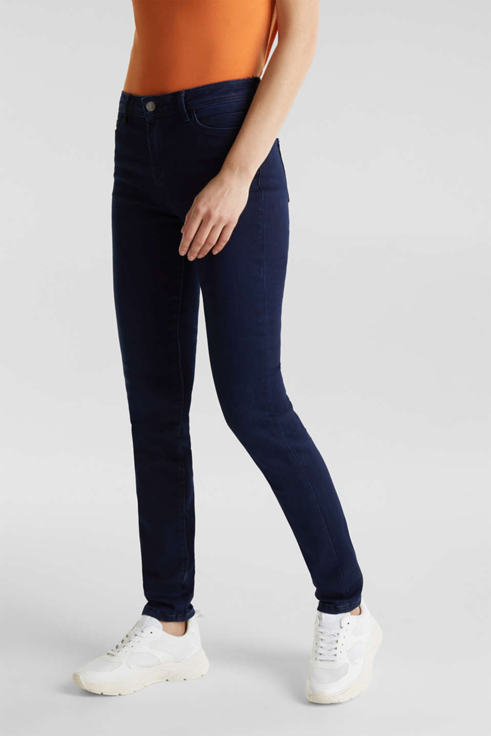 REPREVE stretch jeans with recycled polyester, BLUE DARK WASH, detail image number 6