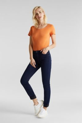 REPREVE stretch jeans with recycled polyester, BLUE DARK WASH, detail