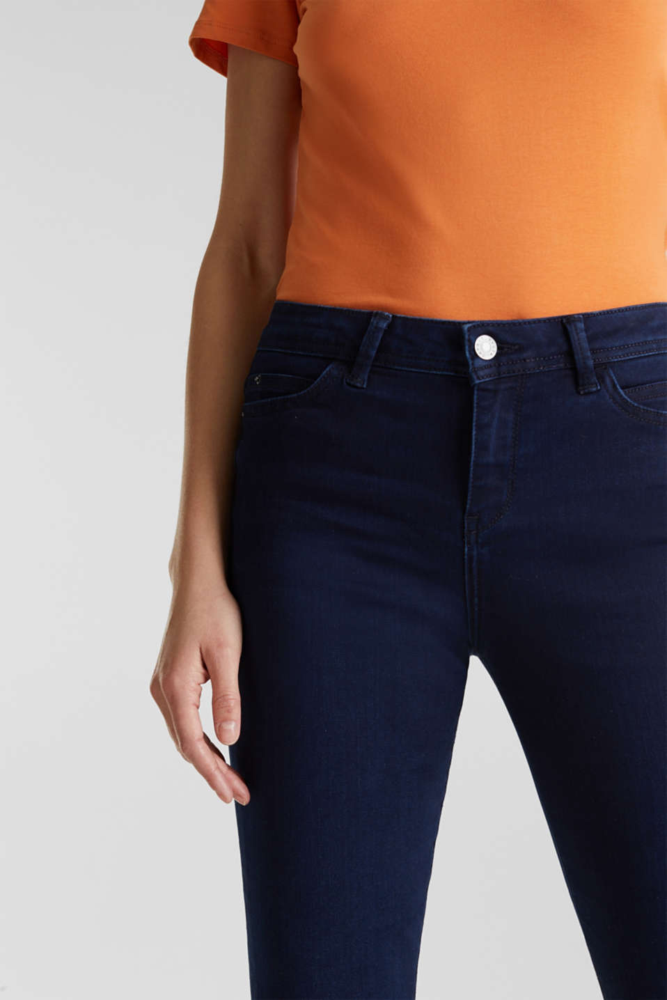 REPREVE stretch jeans with recycled polyester, BLUE DARK WASH, detail image number 2