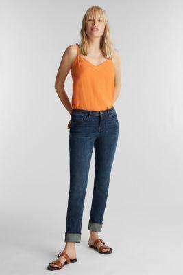 Super stretch jeans with a straight leg, BLUE DARK WASH, detail