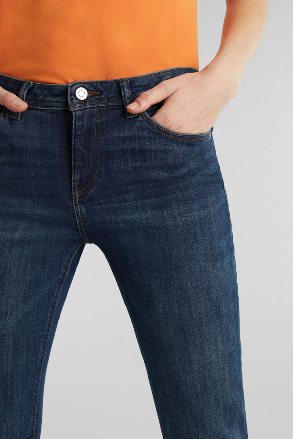 Super stretch jeans with a straight leg, BLUE DARK WASH, detail image number 1