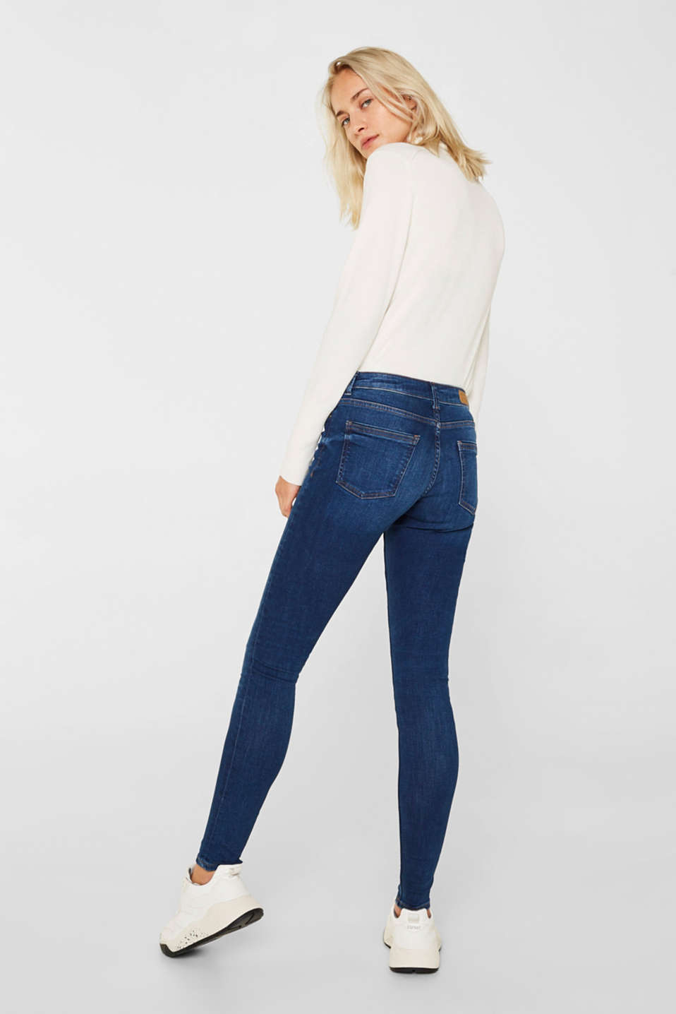 Stretch jeans with a washed effects, BLUE MEDIUM WASH, detail image number 3