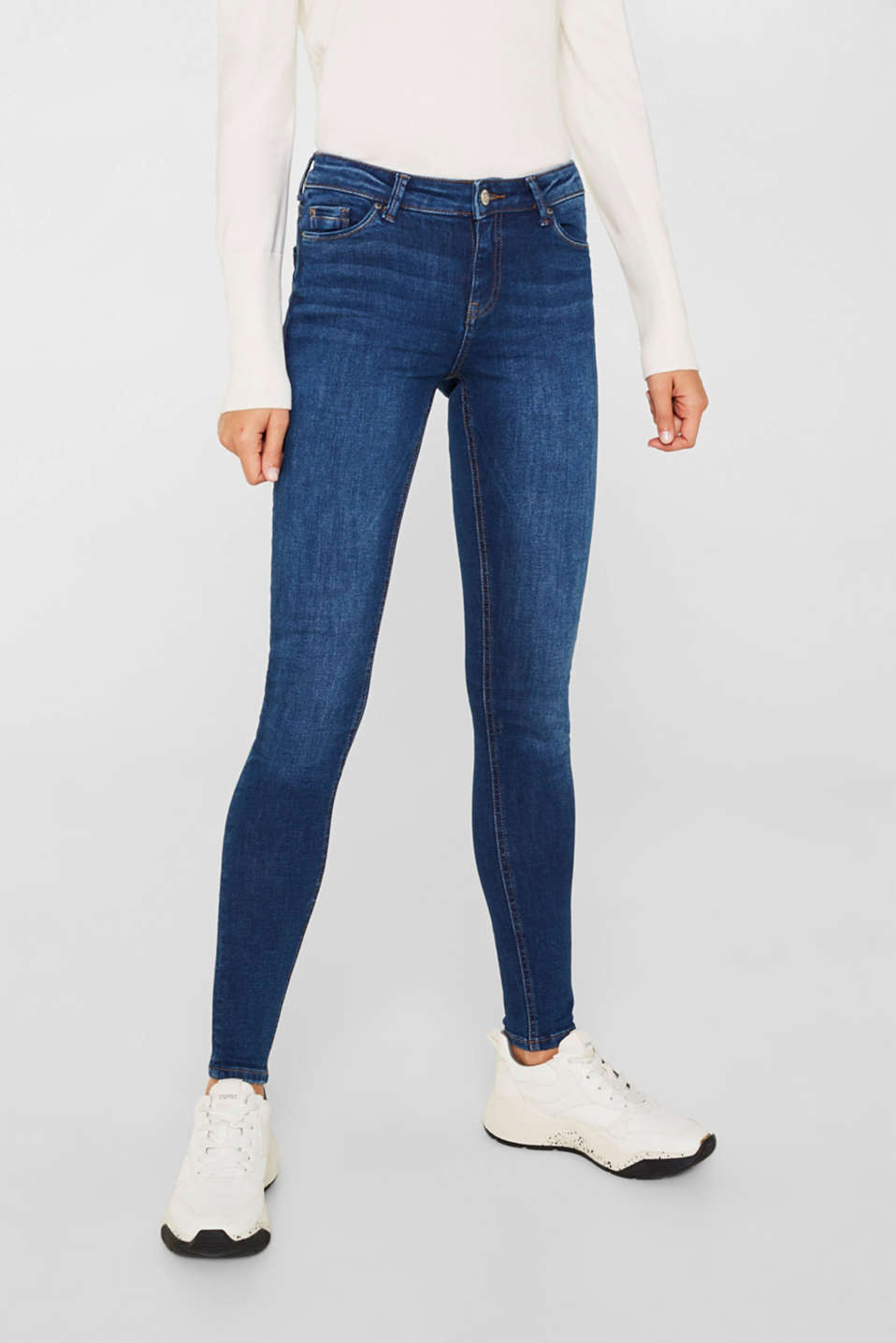 Stretch jeans with a washed effects, BLUE MEDIUM WASH, detail image number 6