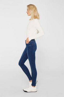 Stretch jeans with a washed effects, BLUE MEDIUM WASH, detail