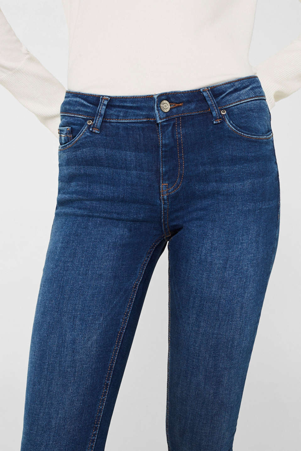 Stretch jeans with a washed effects, BLUE MEDIUM WASH, detail image number 2