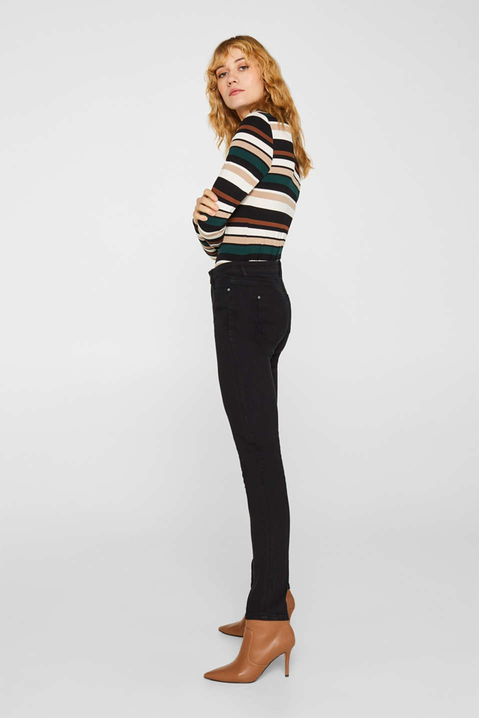 Stretch jeans with a high waistband, BLACK RINSE, detail image number 6