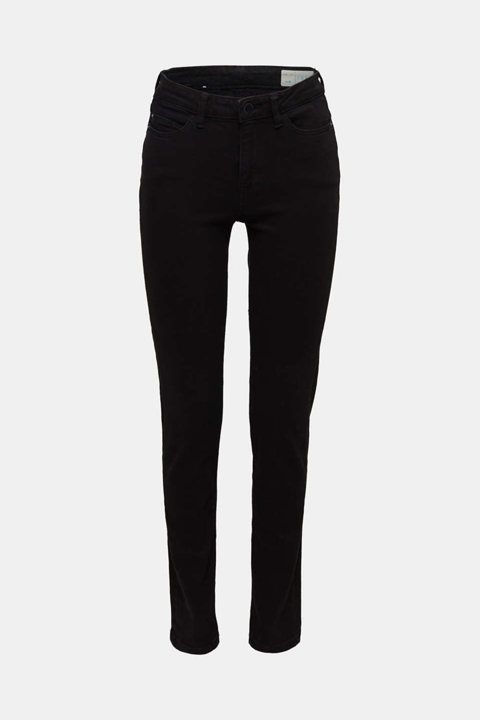 Stretch jeans with a high waistband, BLACK RINSE, detail image number 8