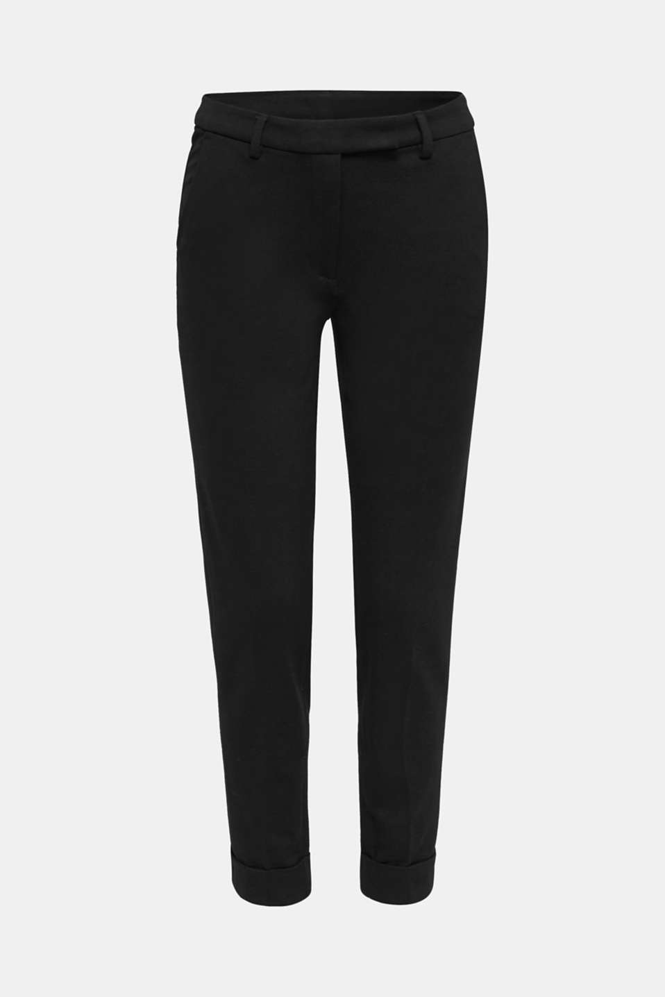 Chinos made of compact stretch jersey, BLACK, detail image number 7