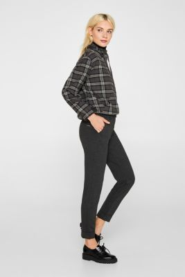 Chinos made of compact stretch jersey, DARK GREY, detail