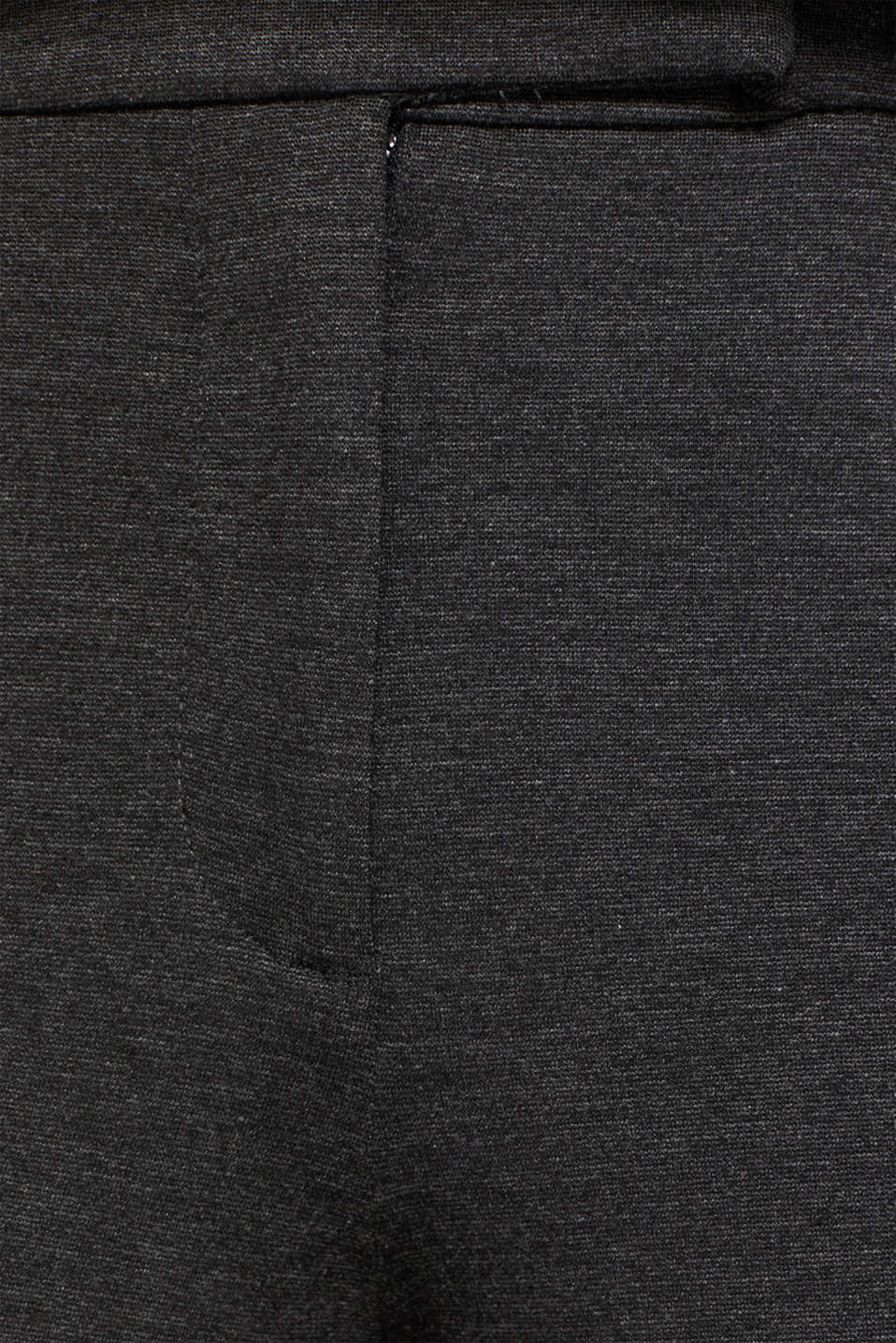 Chinos made of compact stretch jersey, DARK GREY, detail image number 4