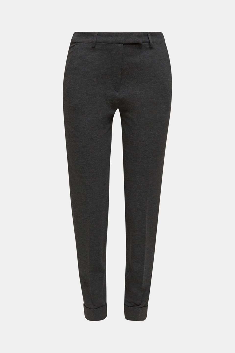 Chinos made of compact stretch jersey, DARK GREY, detail image number 6