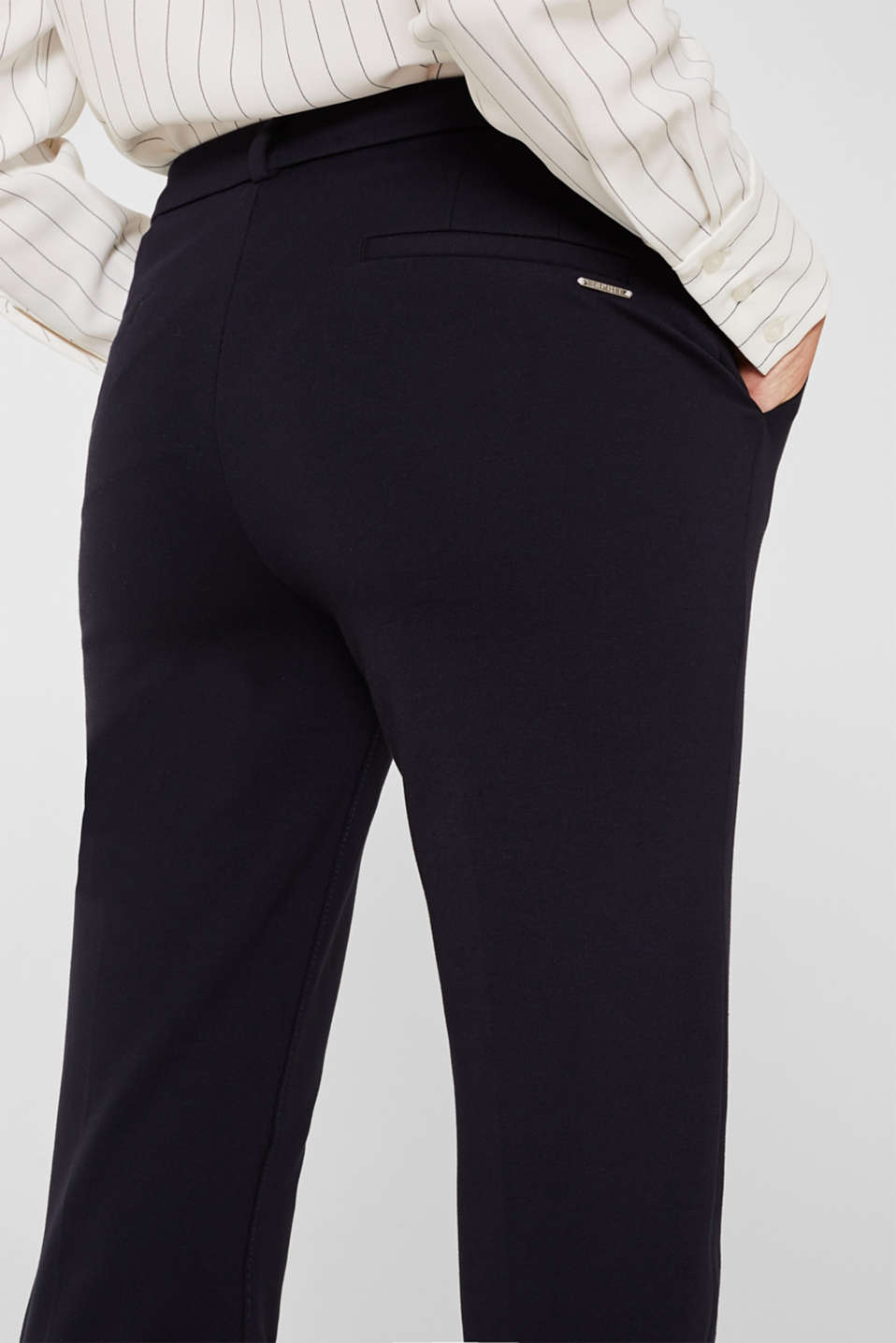 Chinos made of compact stretch jersey, NAVY, detail image number 6