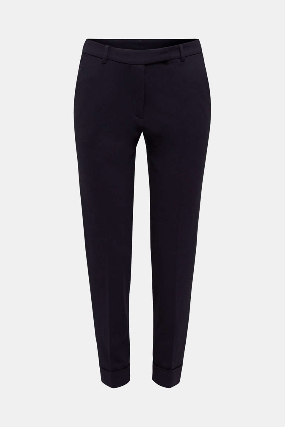 Chinos made of compact stretch jersey, NAVY, detail image number 7