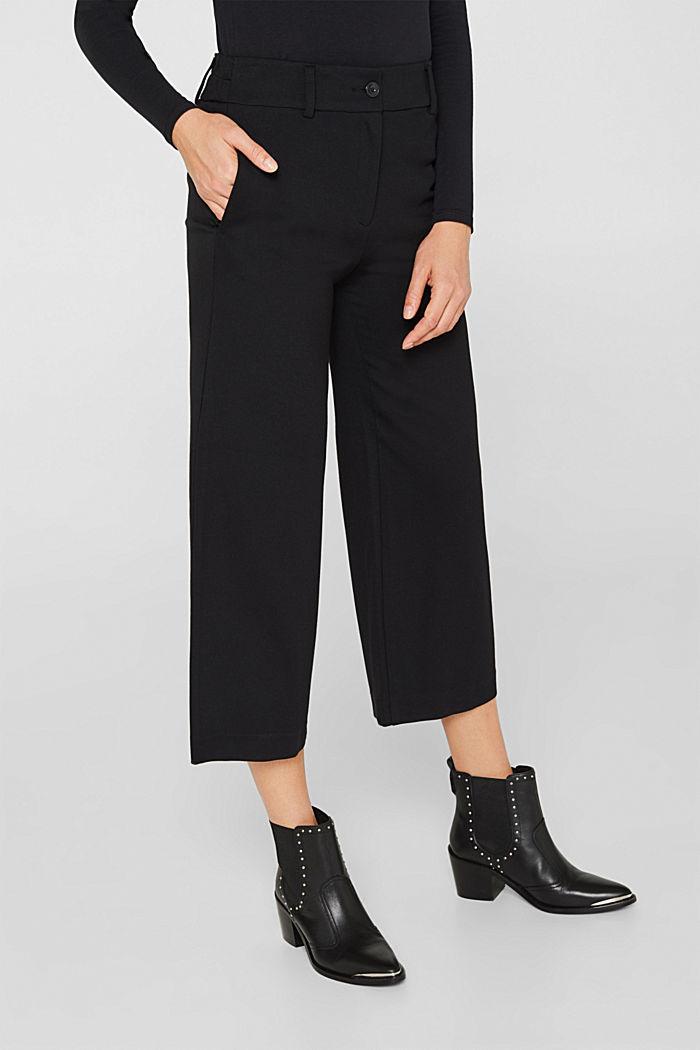 Culottes made of fine melange punto jersey, BLACK, detail image number 5