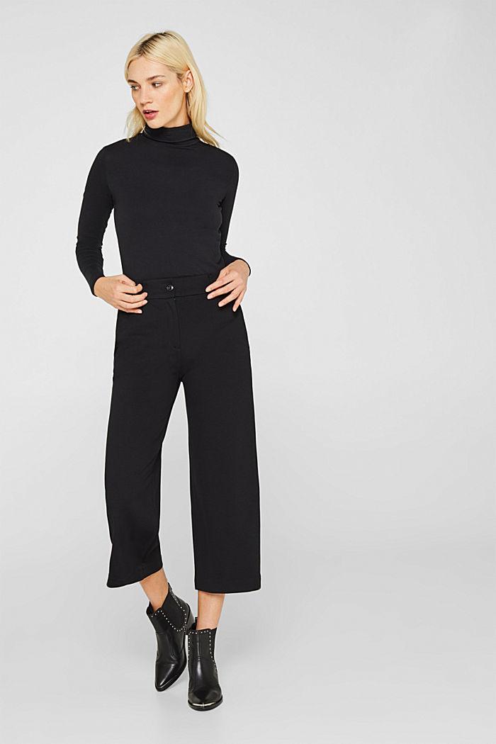 Culottes made of fine melange punto jersey, BLACK, detail image number 1