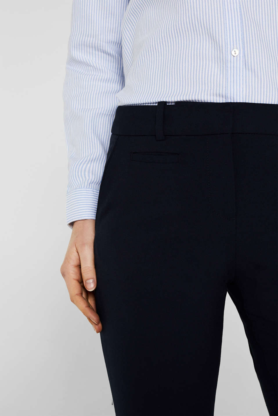Business trousers with stretch for comfort, NAVY, detail image number 0