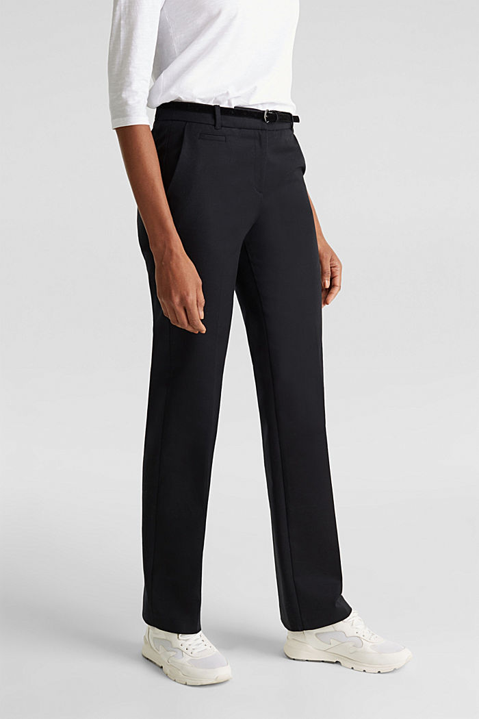 Stretch business trousers with a belt, BLACK, detail image number 0
