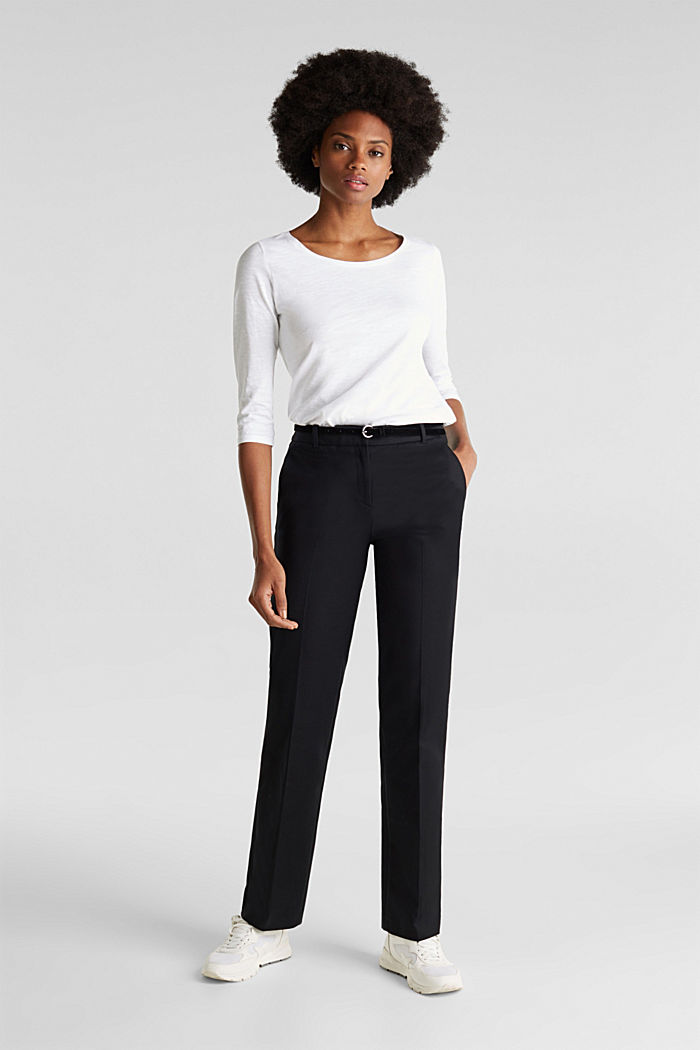 Stretch business trousers with a belt, BLACK, detail image number 1