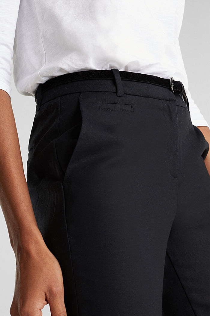 Stretch business trousers with a belt, BLACK, detail image number 2