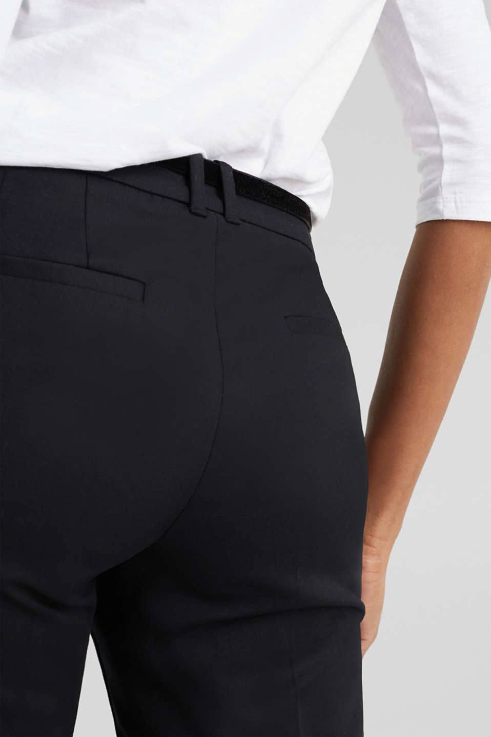 Stretch business trousers with a belt, BLACK, detail image number 5