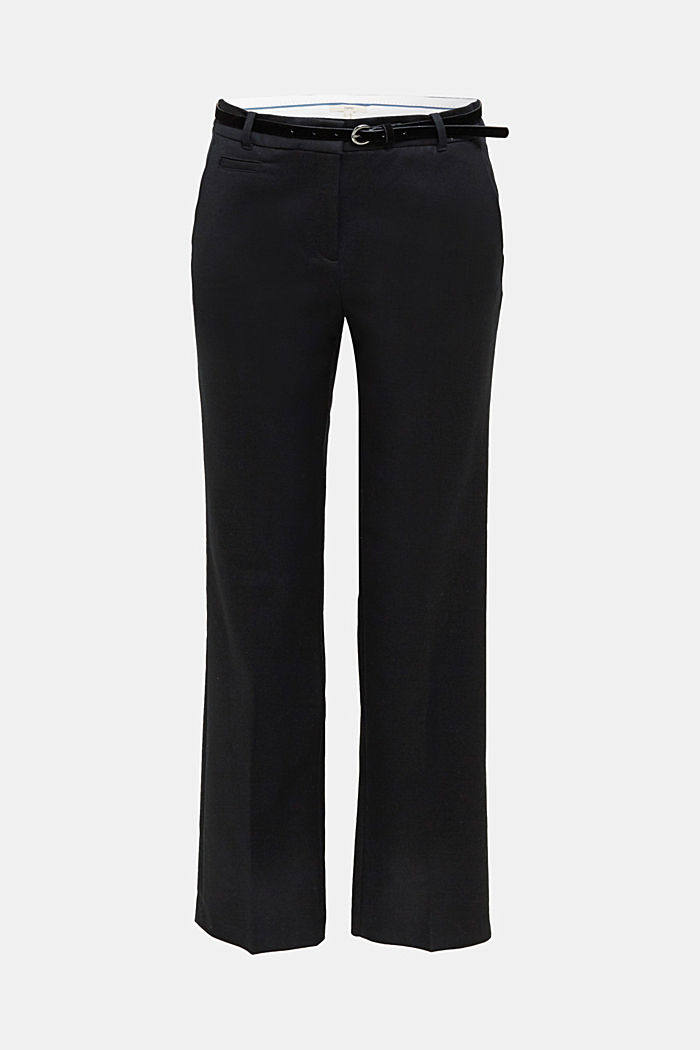 Stretch business trousers with a belt, BLACK, detail image number 6