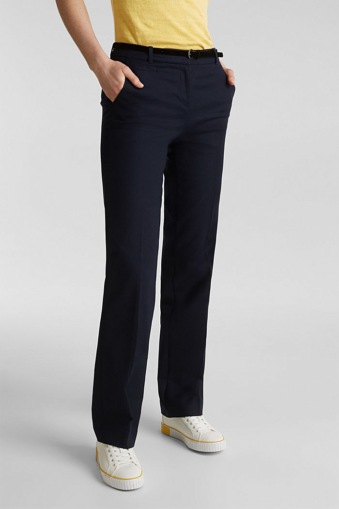 Stretch business trousers with a belt, NAVY, detail image number 6