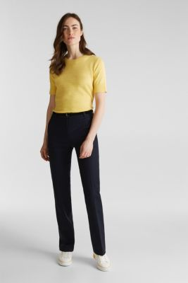 Stretch business trousers with a belt, NAVY, detail
