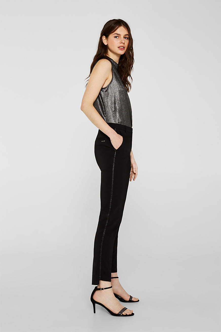 Cigarette-style trousers with glittering woven tape