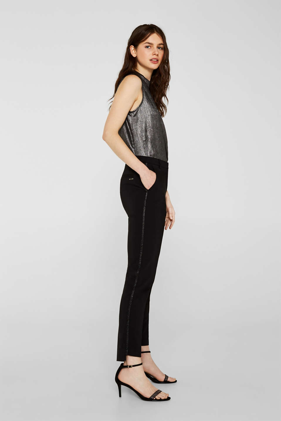 Esprit - Cigarette-style trousers with glittering woven tape