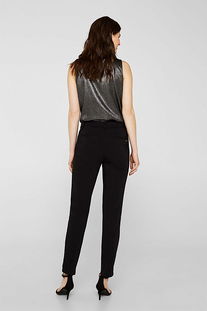 Cigarette-style trousers with glittering woven tape, BLACK, detail image number 3